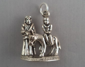 STERLING SILVER 3D Joesph and Mary Christmas Charm for Bracelet or Necklace