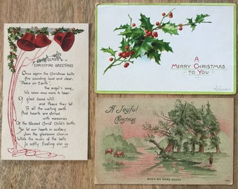 Three Antique Christmas Post Cards