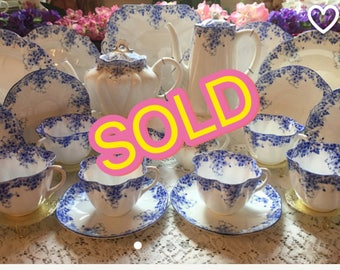 SOLD!! Shelley Dainty Blue tea set for six. 25 pieces.