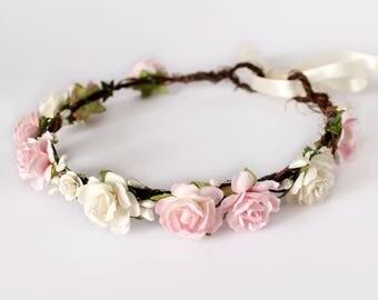 Pink Floral Crown, Pink Flower Crown, Boho Wedding, Bridal Floral Crown Headband, Bridesmaid Flower Crown, Flower Girl Crown