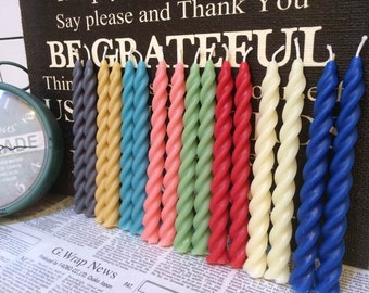 Taper Candles (PAIR)  ~ Coloured Dinner ~ Eco Candles ~ Wedding Candles - Reception Candles - Green, Pink, Yellow, Blue, Red, White, Grey