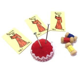 Miniature Sewing Supplies Patterns Thread Pincushion Dollhouse Miniatures 1:12 Scale - 337 B