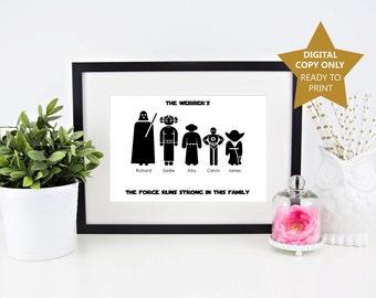 Star wars family poster, digital star wars print, star wars gift, star war family gift, star wars fan, star wars