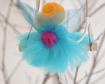 Felted Pixie Fairy on a swing - Mobile - kids decor - kids room - baby mobile