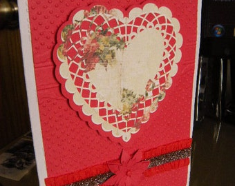 Red Swiss embossed Heart 5x7 Handcrafted greeting card