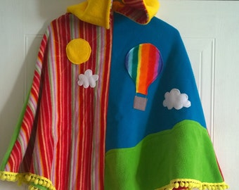 PixiTots fleece poncho hot air balloon sun & clouds stripes