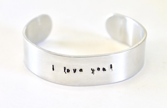 Personalized Cuff Bracelet, Handstamped Cuff Bracelet, Gift For Her, Gift For Mom, Wife Jewelry Gift, Bracelet Gift, Custom Message Bracelet