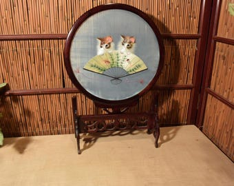Chinese Rosewood Table Screen Silk Embroidery Twin Cats Fan 18 Inches Tall