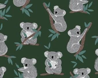 Wild and Free Koala Bears on Forest Green Flannel by Dear Stella