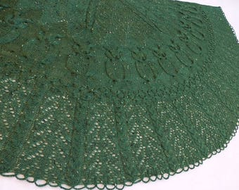 "Forest Green ""Into the Woods"" Aran-Lace Knit Tweed Shawl"
