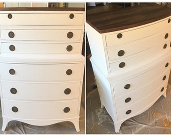 White and dark stained Colonial Dresser