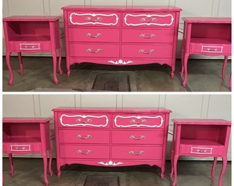 Pink and white french provincial Girls bedroom set