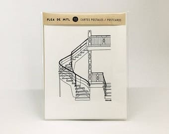NEW ** Montreal's outdoor stairs - Set of 10 Postcards // Love/Hate Montreal