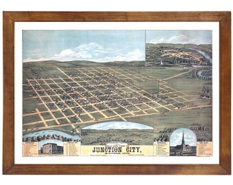 Junction City, KS 1873 Bird's Eye View; 24x36 Print from a Vintage Lithograph
