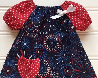4th of July Baby Dress, Baby Girl Dress, 4th of July Baby Outfit, Toddler Girl Dress, Girl Patriotic Dress, Little Girl Dress, Infant Dress