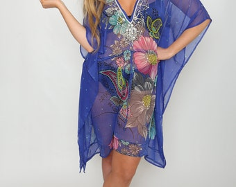 Marilyn Royal Blue Floral Printed ladies Sheer Cover up Kaftan with adjustable tie waist