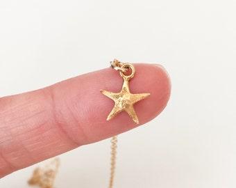 Tiny Starfish Charm Necklace Gold Starfish Charm Necklace Starfish Necklace Beach Jewelry Gold Charm Necklace Boho Necklace
