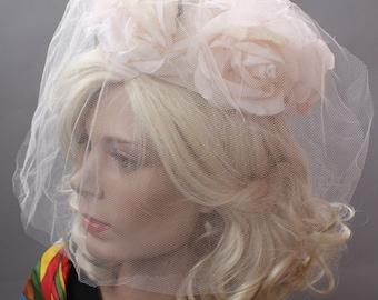 Pale Pink Floral Vintage 60s Hat Bridal Ringlet Hat with Veil Wedding