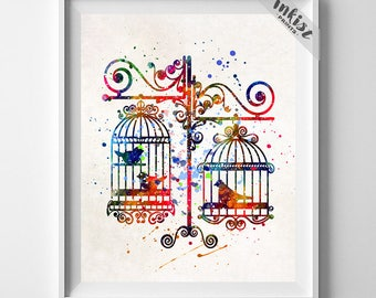 Bird Cage Print, Bird Watercolor Art, Bird Nursery Poster, Birds Artwork, Bedroom Decor, Wall Decor, Children Room Art, Dorm Decor