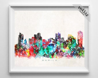 Manila Skyline, Print, Philippines Poster, Manila Cityscape, City Painting, Living Room Decor, Europe Poster, 4th of July