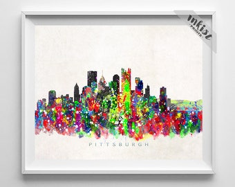 Pittsburgh Skyline Print Pittsburgh Poster Watercolor Painting Pennsylvania Art Cityscape