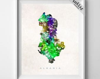 Albania Map Print, Tirana Print, Poster, Albania Map, Watercolor Painting, Map Art, Wall Art, Wall Decor, Present, 4th of July