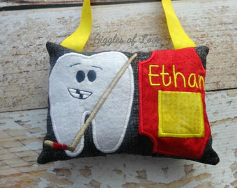 Personalized Tooth Fairy Pillow - Boy Girl Tooth Pillow - Hockey Player Sports