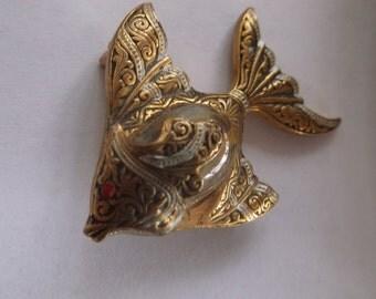 Vintage Damascene Jelly Belly Fish Pin Brooch, Spain, Glass Cab Body with black white enamel work, Red Rhinestone Eye