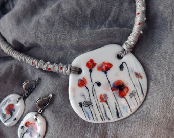 Poppies at dawn (set of fused glass jewelry)
