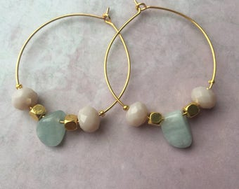 Gold plated Creoles with aquamarine stones and facet cut salmon pink beads