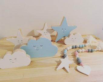 Wooden standing decorations,children rooms decor,woodwn cloud,star,raindrop, bead garland in pastel,hand painted
