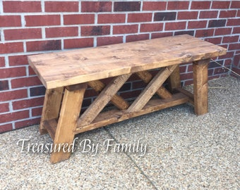 Solid Wood Indoor/Outdoor Farmhouse Bench