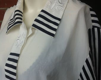 Large white and navy silk blouse