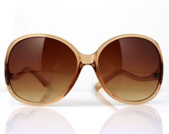 Vintage Oversized Sunglasses, Brown Shades / Retro Ladies Fashion Eyewear / Deadstock Fashion Accessories