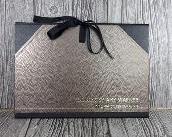 Personalised A3 Art portfolio / cachet portfolio / photo portfolio bronze metal dimple finish - handmade in the UK