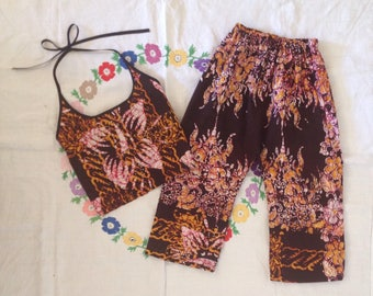Summer outfit // African wax batik trousers flared halter top set 4 T years UK