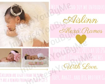 Announcement, baby girl birth announcement, baby boy birth announcement