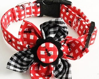 Ants on a Picnic Table Flower & Collar  for Girl Dogs and Cats