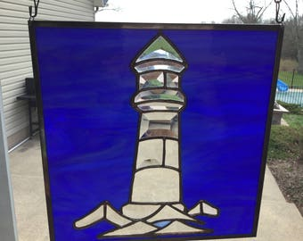 Hand Made Stained Glass Lighthouse