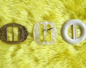 Lovely lot of 3 vintage buckles - metallic pearl patterned plastic