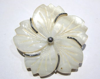 mother of pearl pendant+brooch