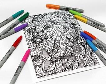 Mandala coloring, drawing #0339 printed on cardboard, relaxation coloring, Mermaid