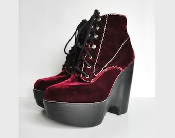 Burgundy Plateau Vintage Lace Up Ankle Boots // Havanna Last // Size EU 42