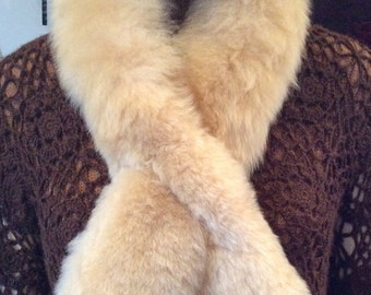 Luxury, Ultra Soft Baby Alpaca Fur Scarf - Satin lined opening, with a pull-through opening to secure.