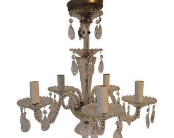 Vintage clear crystal 5-arm chandelier