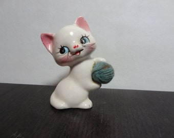 Vintage White Ceramic Kitty Cat Figurine with Whiskers and a Blue Ball of Yarn