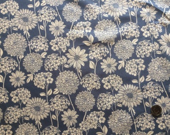 Hydrangeas , Daisys and Chrysanthemums cotton Fabric in Delph Blue
