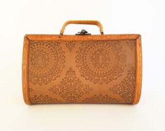70s Wood Purse Vintage Wooden Purse Wooden Handbag Wood Handbag Wood and Plastic Clutch Purse Vintage 70s Purse 70s Bag 70s Handbag