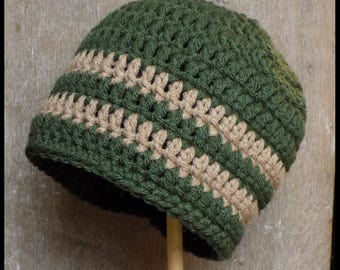 Infant Stripe Beanie- 6-12 months- Forest & Taupe
