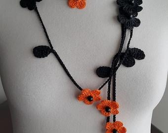 Crochet Necklace,Crochet Neck Accessory, Flower Necklace, Black & Orange, 100% Cotton.